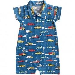 6-12 Mo Annloren Baby Boys Layette Cars Trucks Onesie Pants Cap 3pc Gift Set
