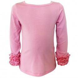 Annloren Baby Big Girls Boutique Long Sleeve Pink Ruffle Layering T Shirt