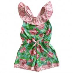 Annloren Baby Girls Boutique Floral Heart Herringbone Romper One Piece